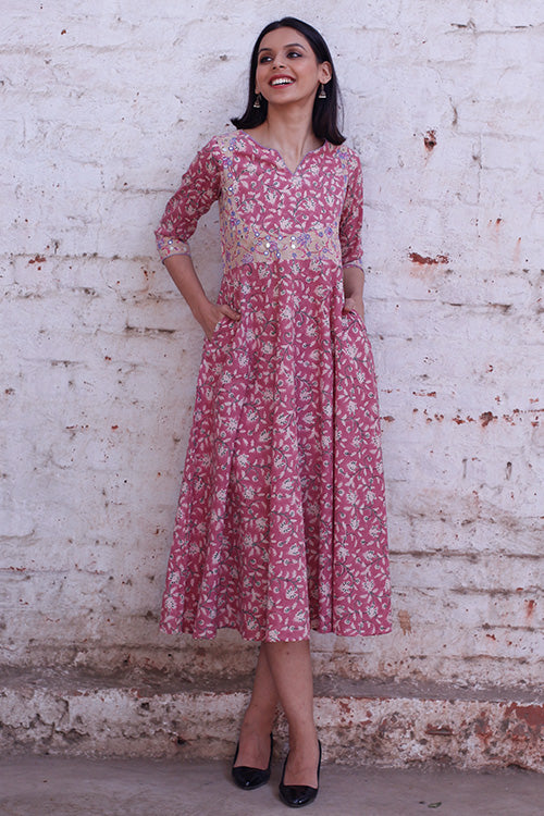 Okhai 'Anarkali' Cotton Hand Block Printed Dress