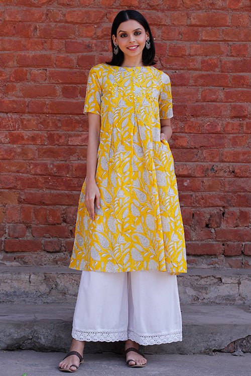 Okhai 'Radiant Sun' Cotton Hand Block Print Dress