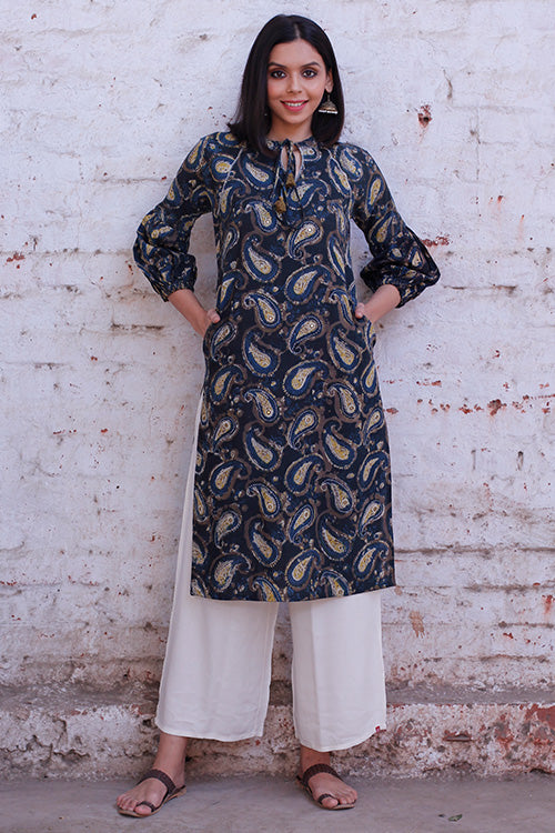 Okhai 'Forest Lagoon' Cotton Bagru Kurta