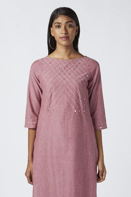 Okhai 'Rose Dust' Embroidered Cotton Kurta