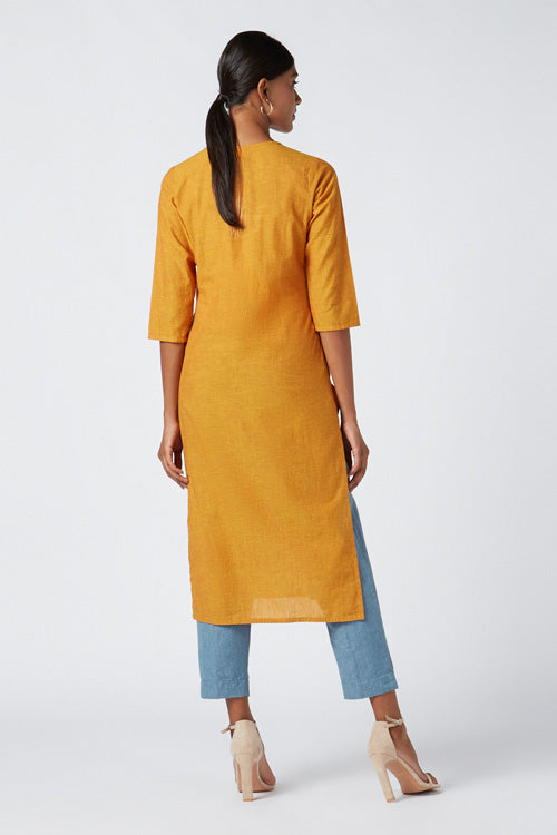 Okhai 'Ember' Embroidered Cotton Kurta