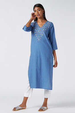 Okhai 'Butterfly' Embroidered Cotton Kurta