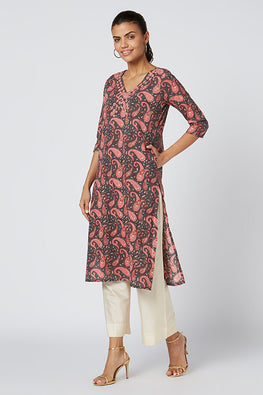 Okhai 'Holly' Embroidered Cotton Hand Block Print Kurta