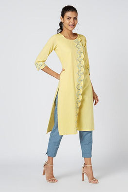 Okhai 'Celeste' Embroidered Cotton Kurta