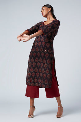 Okhai 'Onyx' Cotton Block Print Kurta