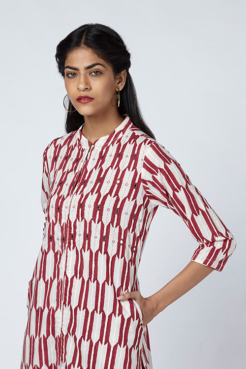 Okhai 'Arrow' Block Print Cotton Kurta
