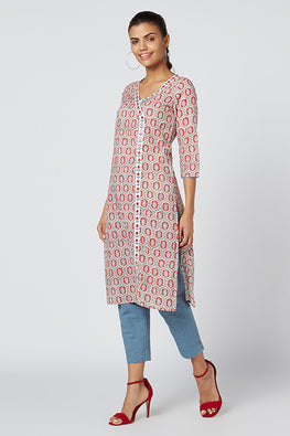 Okhai 'Vinca' Embroidered Cotton Hand Block Print Kurta
