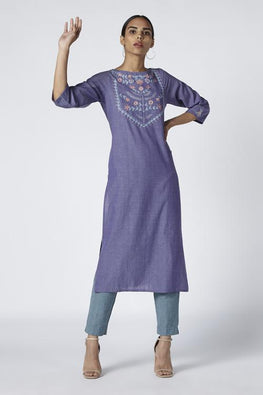 Okhai 'Clio' Embroidered Cotton Kurta