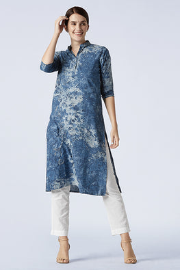 Okhai Mist Tie and Dye Embroidered Cotton Kurti For Women Online