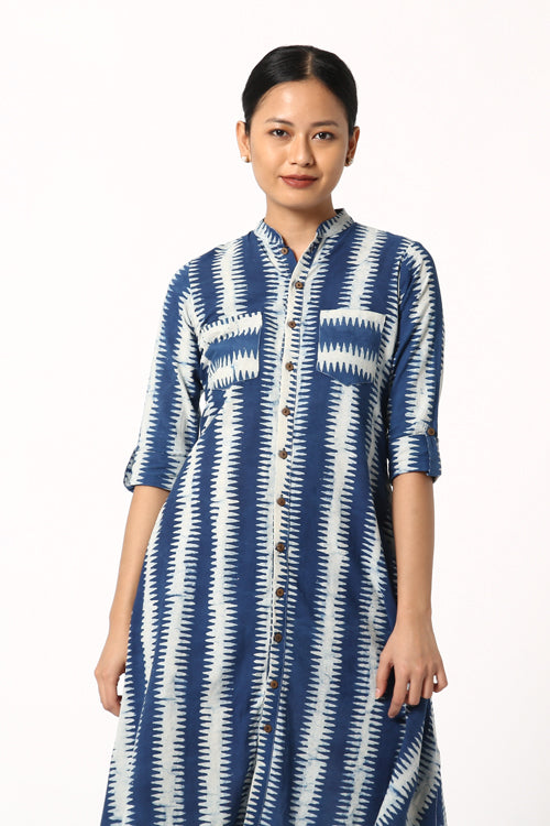 Okhai Relax Indigo Block Print Cotton Dabu Dress For Women Online