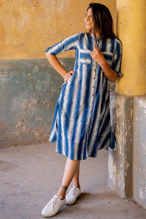Okhai 'Relax' Indigo Cotton Dhabu Dress