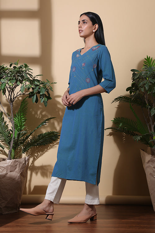Okhai Twilight Hand Embroidered Pure Cotton V Neck Dress Online For Women