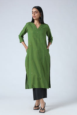 Okhai 'Olive' Embroidery Mirror Work Cotton Long Kurta