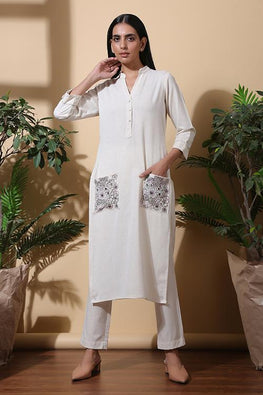 Okhai Earthy Hand Embroidered Pure Cotton Kurta Set For Women Online