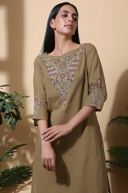 Okhai 'Herbaceous' Hand Embroidered Pure Cotton Kurta