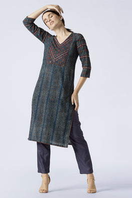 Okhai 'Blue Ivy' Embroidery Mirror Work Cotton Ajrakh Long Kurta