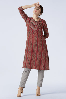Okhai 'Brew' Embroidery Mirror Work Cotton Ajrakh Long Kurta