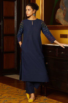 Okhai 'Rain Hues' Hand Embroidery Mirror Work Cotton Long Kurta