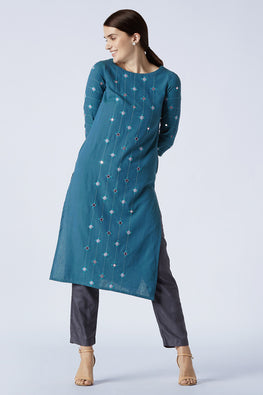 Okhai 'Sapphire' Hand Embroidered Mirror Work Pure Cotton Long Kurta