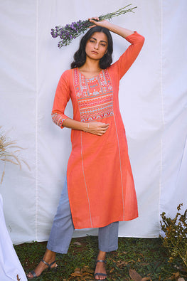 Okhai 'Tribal' Hand Embroidered Mirror Work Pure Cotton Long Kurta