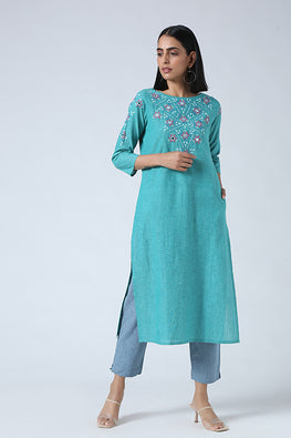 Okhai 'Jorah' Hand Embroidered Mirror Work Pure Cotton Long Kurta