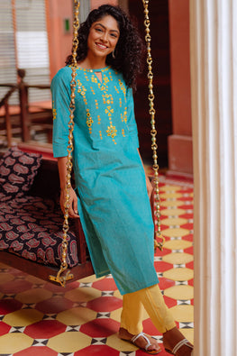 Okhai 'Daphne' Hand Embroidered Mirror Work Pure Cotton Kurta