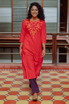 Okhai 'Elegance' Hand Embroidery Mirror Work Cotton Long Kurta