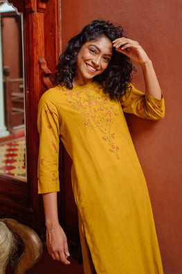Okhai 'Nora' Hand Embroidered Mirror Work Cotton Long Kurta
