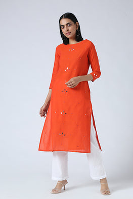 Okhai 'Rihana' Mirror Work Pure Cotton Long Kurta