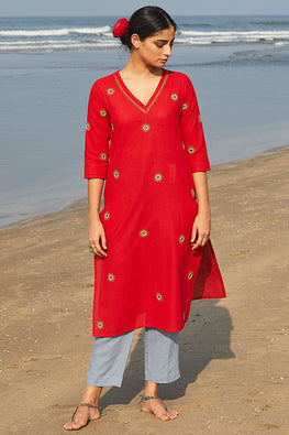 Okhai 'Kawaii' Embroidered Mirror Work Cotton Handloom Long Kurta