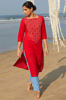 Okhai 'Juliet' Embroidered Mirror Work Cotton Handloom Long Kurta