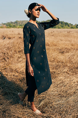Okhai Spirit Pure Cotton Mirror Work Black Embroidered Long Kurta Online