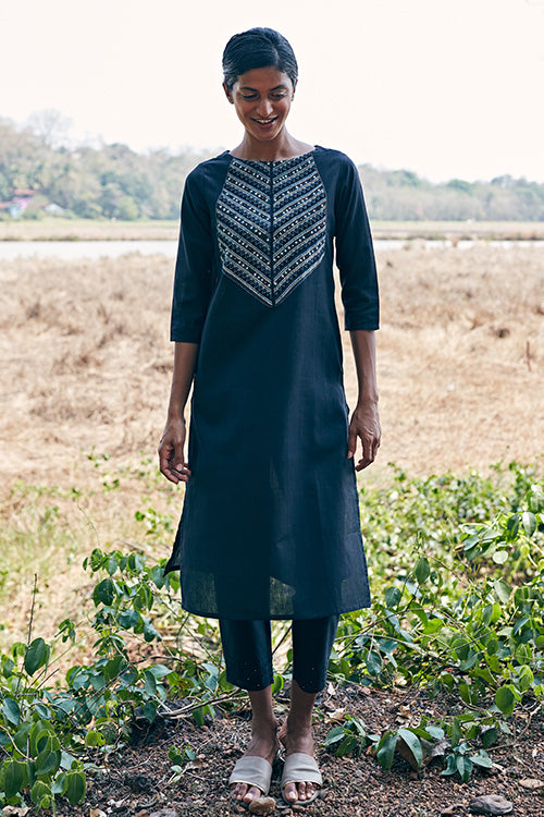 Okhai 'Majestic' Hand Embroidered Mirror Work Pure Cotton Long Kurta