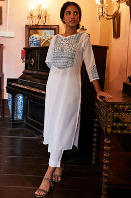 Okhai Glacier Hand Embroidered Mirror Work Pure Cotton Long Kurta For Women
