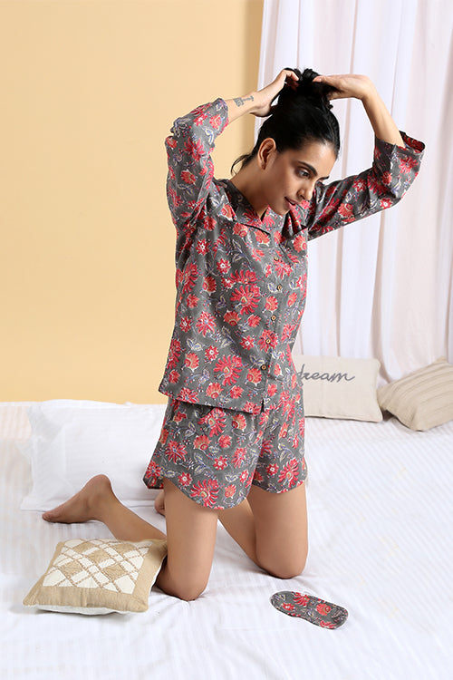 Okhai Siesta Hand Block Printed Pure Cotton Night Suit For Ladies Online