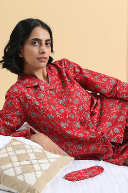 Okhai Trance Hand Block Printed Pure Cotton Night Suit For Ladies Online