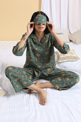 Okhai 'Oasis' Pure Cotton Hand Block Printed Night Suit