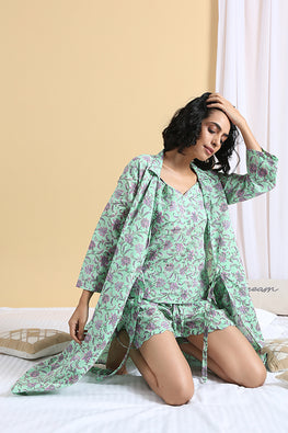 Okhai Daisy Hand Block Printed Pure Cotton Night Suit For Ladies Online