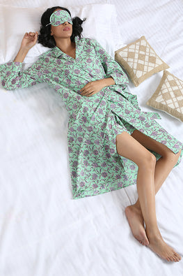 Okhai 'Daisy' Pure Cotton Hand Block Printed Three Piece Night Suit