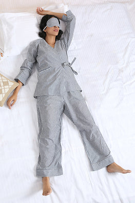 Okhai Slumber Striped Three Piece Pure Cotton Night Suit For Ladies Online