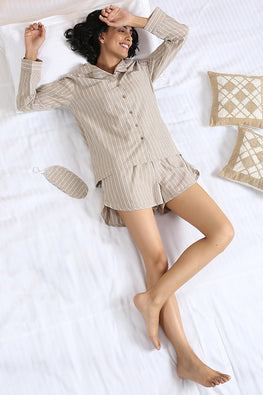 Okhai 'Luna' Pure Cotton Striped Cotton Night Suit