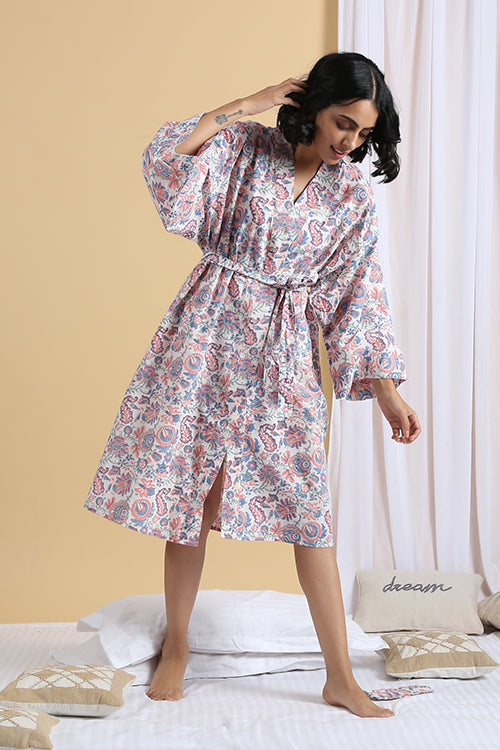 Okhai Muse Hand Block Printed Pure Cotton Night Robe For Women Online