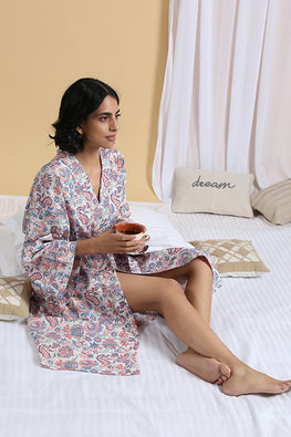 Okhai 'Muse' Pure Cotton Hand Block Printed Night Robe