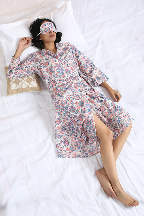 Okhai 'Serenity' Pure Cotton Hand Block Printed Night Suit
