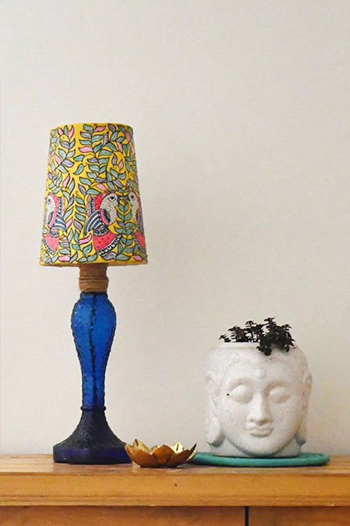 StudioMoya 'Parrots' Hand-painted On Leather Lamp Shade