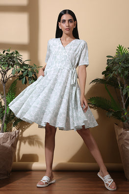 Soothig Hand Block Printed Pure Cotton Half Sleeve Dress For Women Online