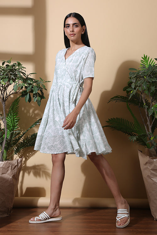 Okhai 'Soothing' Hand Block Printed Pure Cotton Dress