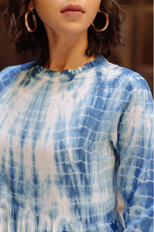 Okhai Varkha Tie Dye Pure Cotton Blue and White Dress Online