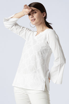 Okhai 'Reticent' Cotton Chikankari Top