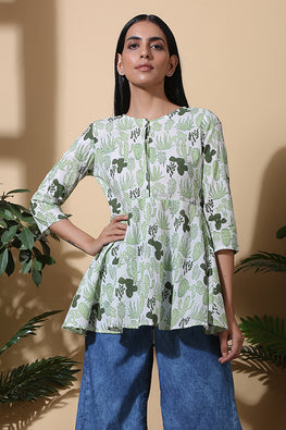 Okhai 'Dessert Escape' Hand Block Printed Pure Cotton Top